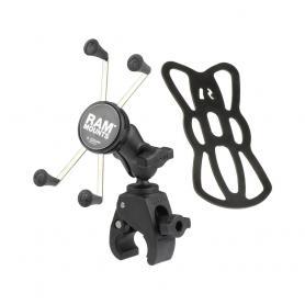 Base RAM pequeña Tough-Claw ™ (pinza manillar) con brazo de enchufe doble corto y soporte grande universal X-Grip® para teléfono