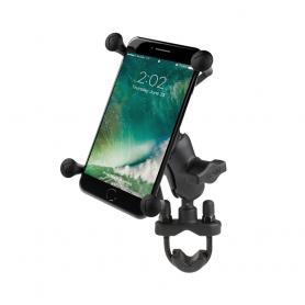 Soporte Universal para smartphone RAM® X-Grip® con kit de sujeción en forma de U para fijación en manillar.