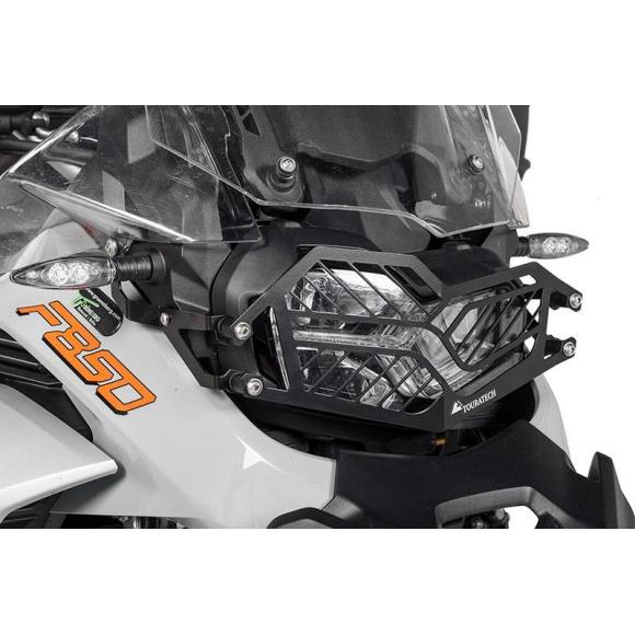 Protección de acero inoxidable para los faros, negra, con cierre rápido para BMW F850GS Adventure *OFFROAD USE ONLY*