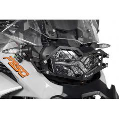Protección de acero inoxidable para los faros, negra, con cierre rápido para BMW F850GS Adventure