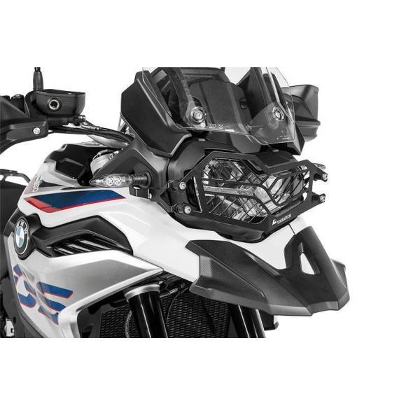 Protección de acero inoxidable para los faros, negro, con cierre rápido para BMW F850GS / F750GS