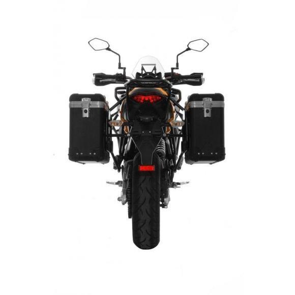 "Sistema de maletas ZEGA Pro ""And-Black"" 31/31 litros con soporte de acero negro para Kawasaki Versys 650 (2010-2014)"