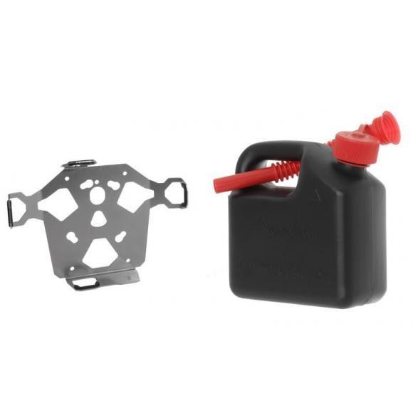 Bidón de 3 litros de Touratech con placa de adaptación a las maletas ZEGA Pro y Mundo y dos correas de sujeción