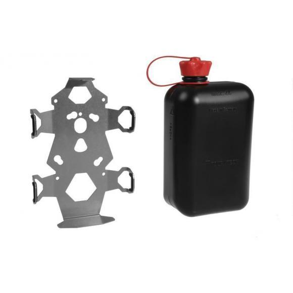 ZEGA Pro/ZEGA Mundo conjunto de soporte para accesorios, placa de adaptación del bidón de reserva con bidón de reserva Touratech 2 litros