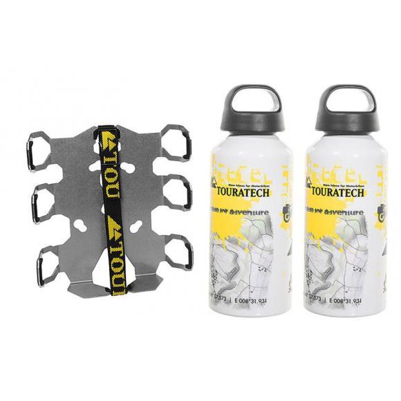 Zega Pro / Zega Mundo placa de adaptación del soporte de botellas-doble con 2x Touratech aluminio botella 0,6 litros