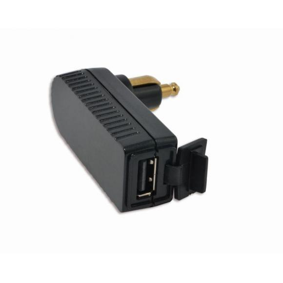 Cargador USB acodado a la derecha para toma DIN de motocicleta
