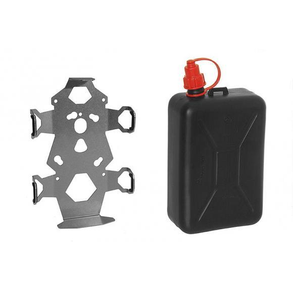 Bidón de 2 litros con soporte y placa de adaptación para maletas Zega Pro y Zega Mundo