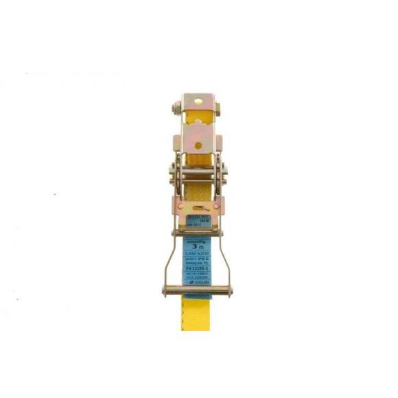 Correa de amarre con carraca *amarilla*, autorizada para uso profesional