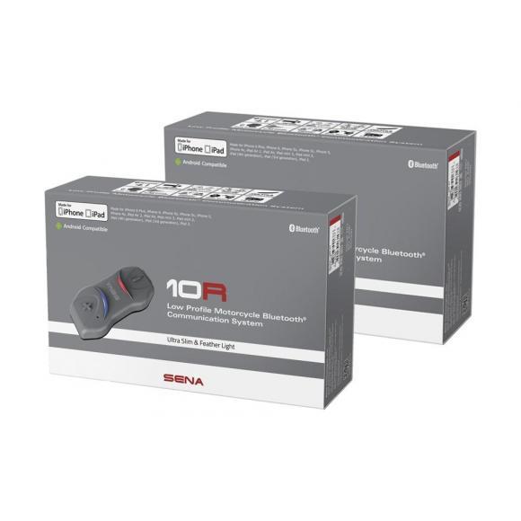 DUAL PACK - SENA 10R - Auricular e intercomunicador Bluetooth® para motocicletas Ultrafino SIN control remoto para manillar