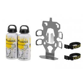 """ZEGA Evo soporte para accesorios """"soporte de botellas"""" doble con 2x Touratech aluminio botella 0,6 litros"""